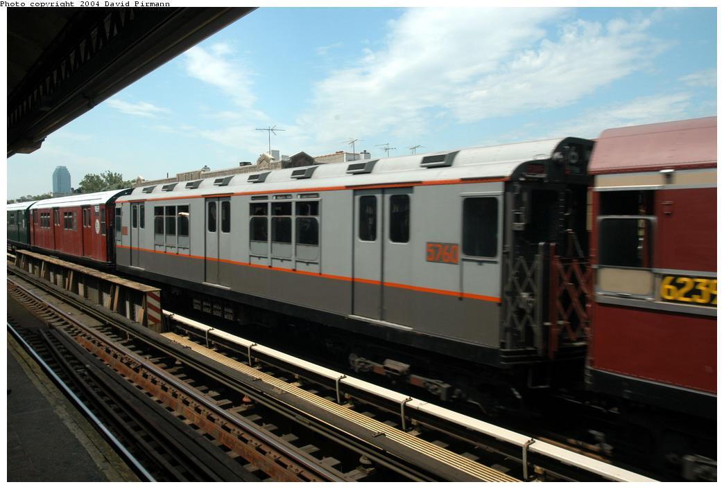 (142k, 1044x706)<br><b>Country:</b> United States<br><b>City:</b> New York<br><b>System:</b> New York City Transit<br><b>Line:</b> BMT Astoria Line<br><b>Location:</b> Broadway<br><b>Route:</b> Fan Trip<br><b>Car:</b> R-12 (American Car & Foundry, 1948) 5760 <br><b>Photo by:</b> David Pirmann<br><b>Date:</b> 6/19/2004<br><b>Viewed (this week/total):</b> 1 / 2916