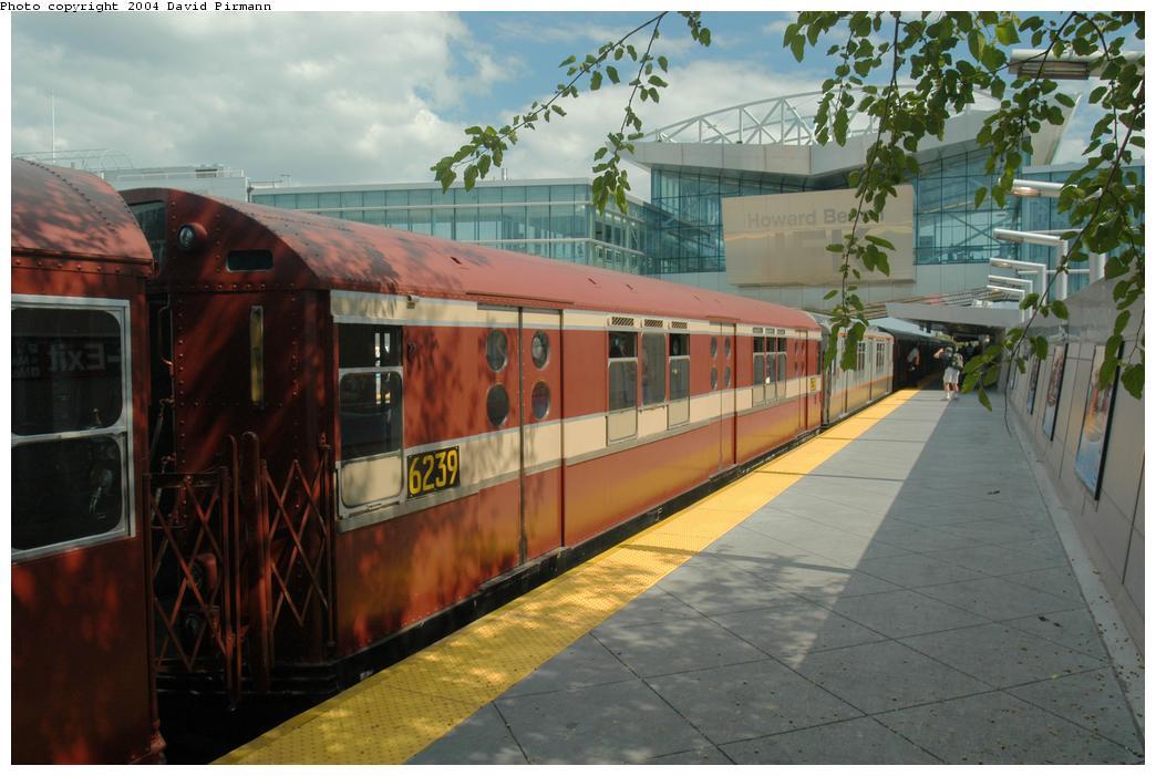 (151k, 1044x701)<br><b>Country:</b> United States<br><b>City:</b> New York<br><b>System:</b> New York City Transit<br><b>Line:</b> IND Rockaway Line<br><b>Location:</b> Howard Beach/JFK Airport<br><b>Route:</b> Fan Trip<br><b>Car:</b> R-15 (American Car & Foundry, 1950) 6239 <br><b>Photo by:</b> David Pirmann<br><b>Date:</b> 6/19/2004<br><b>Viewed (this week/total):</b> 1 / 4498