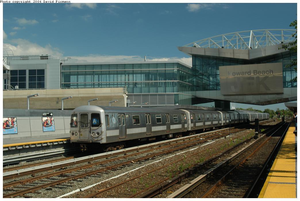 (164k, 1044x701)<br><b>Country:</b> United States<br><b>City:</b> New York<br><b>System:</b> New York City Transit<br><b>Line:</b> IND Rockaway Line<br><b>Location:</b> Howard Beach/JFK Airport<br><b>Route:</b> A<br><b>Car:</b> R-44 (St. Louis, 1971-73) 5372 <br><b>Photo by:</b> David Pirmann<br><b>Date:</b> 6/19/2004<br><b>Viewed (this week/total):</b> 2 / 5773