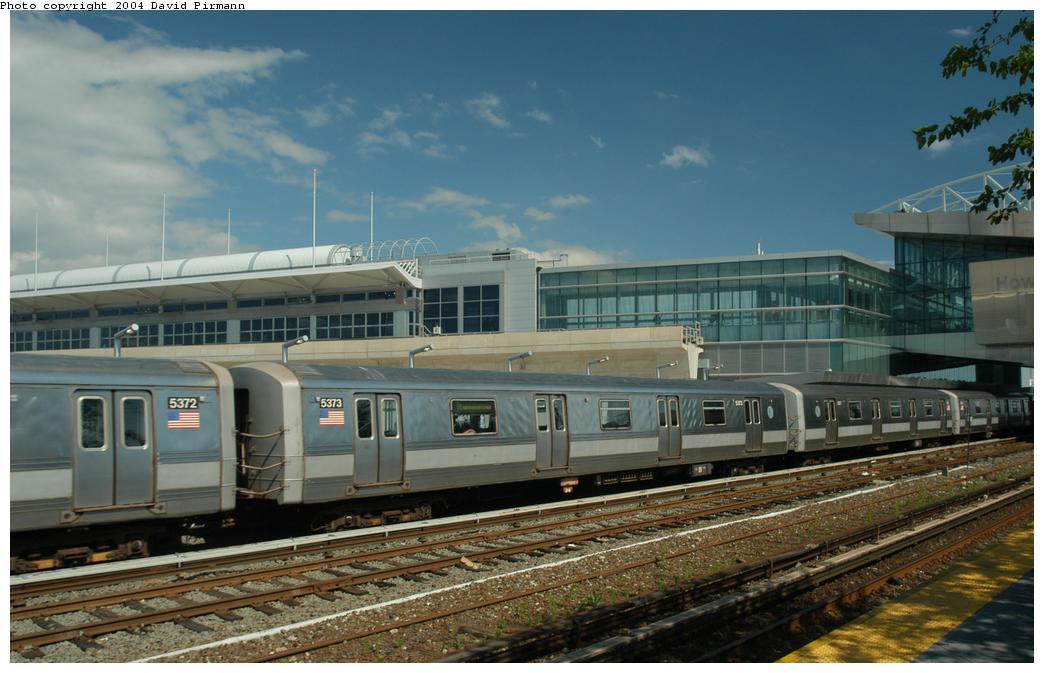 (148k, 1044x673)<br><b>Country:</b> United States<br><b>City:</b> New York<br><b>System:</b> New York City Transit<br><b>Line:</b> IND Rockaway Line<br><b>Location:</b> Howard Beach/JFK Airport<br><b>Route:</b> A<br><b>Car:</b> R-44 (St. Louis, 1971-73) 5373 <br><b>Photo by:</b> David Pirmann<br><b>Date:</b> 6/19/2004<br><b>Viewed (this week/total):</b> 1 / 4651