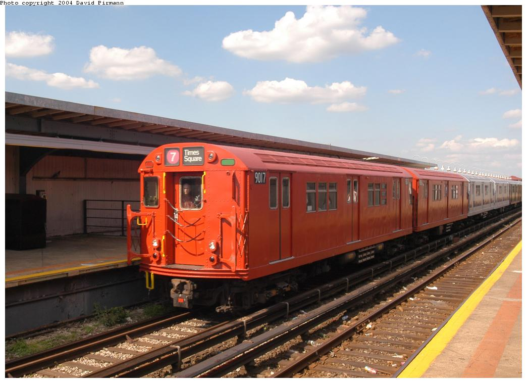 (150k, 1044x758)<br><b>Country:</b> United States<br><b>City:</b> New York<br><b>System:</b> New York City Transit<br><b>Line:</b> IND Rockaway Line<br><b>Location:</b> Beach 90th Street/Holland<br><b>Route:</b> Fan Trip<br><b>Car:</b> R-33 Main Line (St. Louis, 1962-63) 9017 <br><b>Photo by:</b> David Pirmann<br><b>Date:</b> 6/19/2004<br><b>Viewed (this week/total):</b> 1 / 4694