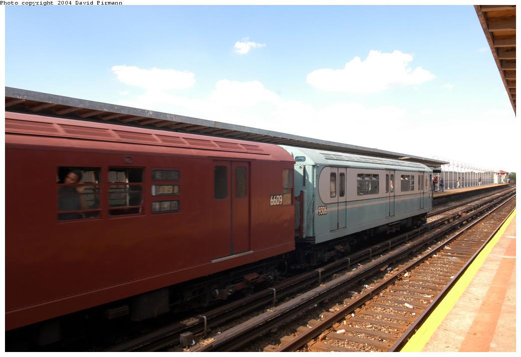 (131k, 1044x716)<br><b>Country:</b> United States<br><b>City:</b> New York<br><b>System:</b> New York City Transit<br><b>Line:</b> IND Rockaway Line<br><b>Location:</b> Beach 90th Street/Holland<br><b>Route:</b> Fan Trip<br><b>Car:</b> R-33 World's Fair (St. Louis, 1963-64) 9306 <br><b>Photo by:</b> David Pirmann<br><b>Date:</b> 6/19/2004<br><b>Viewed (this week/total):</b> 2 / 2588