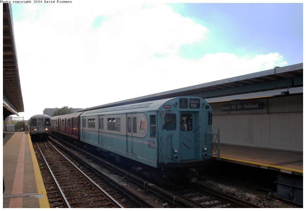 (108k, 1044x720)<br><b>Country:</b> United States<br><b>City:</b> New York<br><b>System:</b> New York City Transit<br><b>Line:</b> IND Rockaway Line<br><b>Location:</b> Beach 90th Street/Holland<br><b>Route:</b> Fan Trip<br><b>Car:</b> R-33 World's Fair (St. Louis, 1963-64) 9306 <br><b>Photo by:</b> David Pirmann<br><b>Date:</b> 6/19/2004<br><b>Viewed (this week/total):</b> 3 / 3345