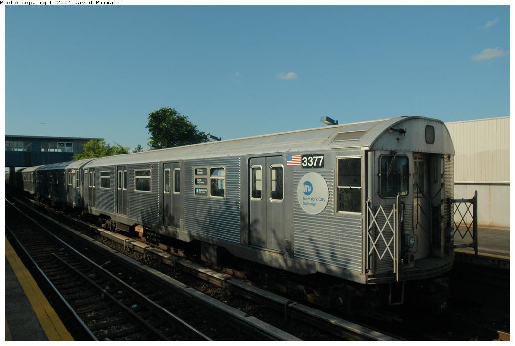 (120k, 1044x701)<br><b>Country:</b> United States<br><b>City:</b> New York<br><b>System:</b> New York City Transit<br><b>Line:</b> IND Rockaway Line<br><b>Location:</b> Broad Channel<br><b>Route:</b> A<br><b>Car:</b> R-32 (Budd, 1964) 3377 <br><b>Photo by:</b> David Pirmann<br><b>Date:</b> 6/19/2004<br><b>Viewed (this week/total):</b> 1 / 7067