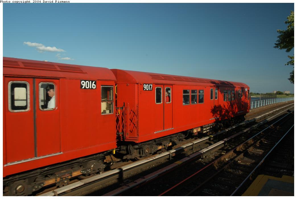 (122k, 1044x701)<br><b>Country:</b> United States<br><b>City:</b> New York<br><b>System:</b> New York City Transit<br><b>Line:</b> IND Rockaway Line<br><b>Location:</b> Broad Channel<br><b>Route:</b> Fan Trip<br><b>Car:</b> R-33 Main Line (St. Louis, 1962-63) 9017 <br><b>Photo by:</b> David Pirmann<br><b>Date:</b> 6/19/2004<br><b>Viewed (this week/total):</b> 1 / 2645