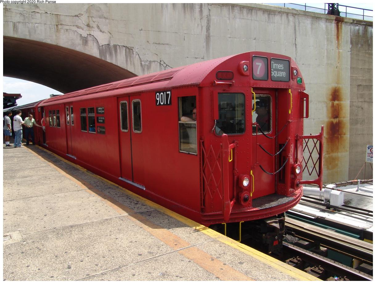(491k, 1220x920)<br><b>Country:</b> United States<br><b>City:</b> New York<br><b>System:</b> New York City Transit<br><b>Line:</b> BMT Astoria Line<br><b>Location:</b> Ditmars Boulevard<br><b>Route:</b> Fan Trip<br><b>Car:</b> R-33 Main Line (St. Louis, 1962-63) 9017 <br><b>Photo by:</b> Richard Panse<br><b>Date:</b> 6/19/2004<br><b>Viewed (this week/total):</b> 1 / 5155