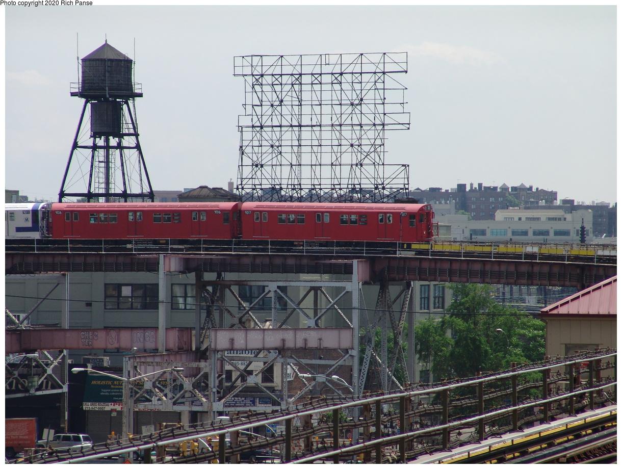 (479k, 1220x920)<br><b>Country:</b> United States<br><b>City:</b> New York<br><b>System:</b> New York City Transit<br><b>Line:</b> BMT Astoria Line<br><b>Location:</b> Queensborough Plaza<br><b>Route:</b> Fan Trip<br><b>Car:</b> R-33 Main Line (St. Louis, 1962-63) 9017 <br><b>Photo by:</b> Richard Panse<br><b>Date:</b> 6/19/2004<br><b>Viewed (this week/total):</b> 5 / 4794
