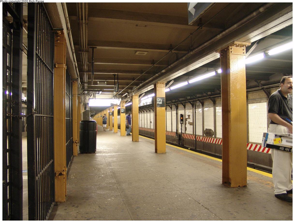 (513k, 1220x920)<br><b>Country:</b> United States<br><b>City:</b> New York<br><b>System:</b> New York City Transit<br><b>Line:</b> BMT Broadway Line<br><b>Location:</b> City Hall<br><b>Photo by:</b> Richard Panse<br><b>Date:</b> 6/19/2004<br><b>Viewed (this week/total):</b> 4 / 7168