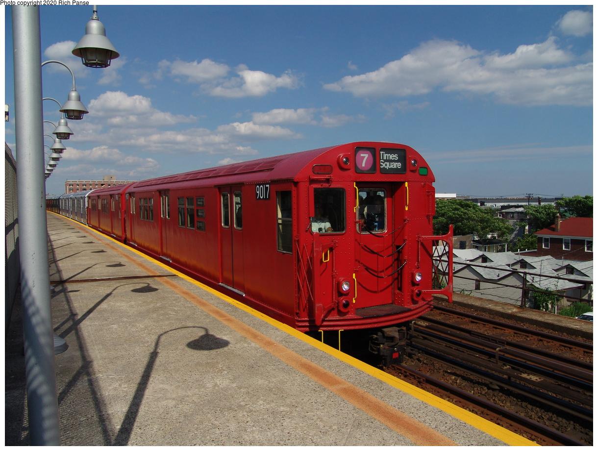 (459k, 1220x920)<br><b>Country:</b> United States<br><b>City:</b> New York<br><b>System:</b> New York City Transit<br><b>Line:</b> IND Rockaway Line<br><b>Location:</b> Beach 98th Street/Playland<br><b>Route:</b> Fan Trip<br><b>Car:</b> R-33 Main Line (St. Louis, 1962-63) 9017 <br><b>Photo by:</b> Richard Panse<br><b>Date:</b> 6/19/2004<br><b>Viewed (this week/total):</b> 4 / 8021