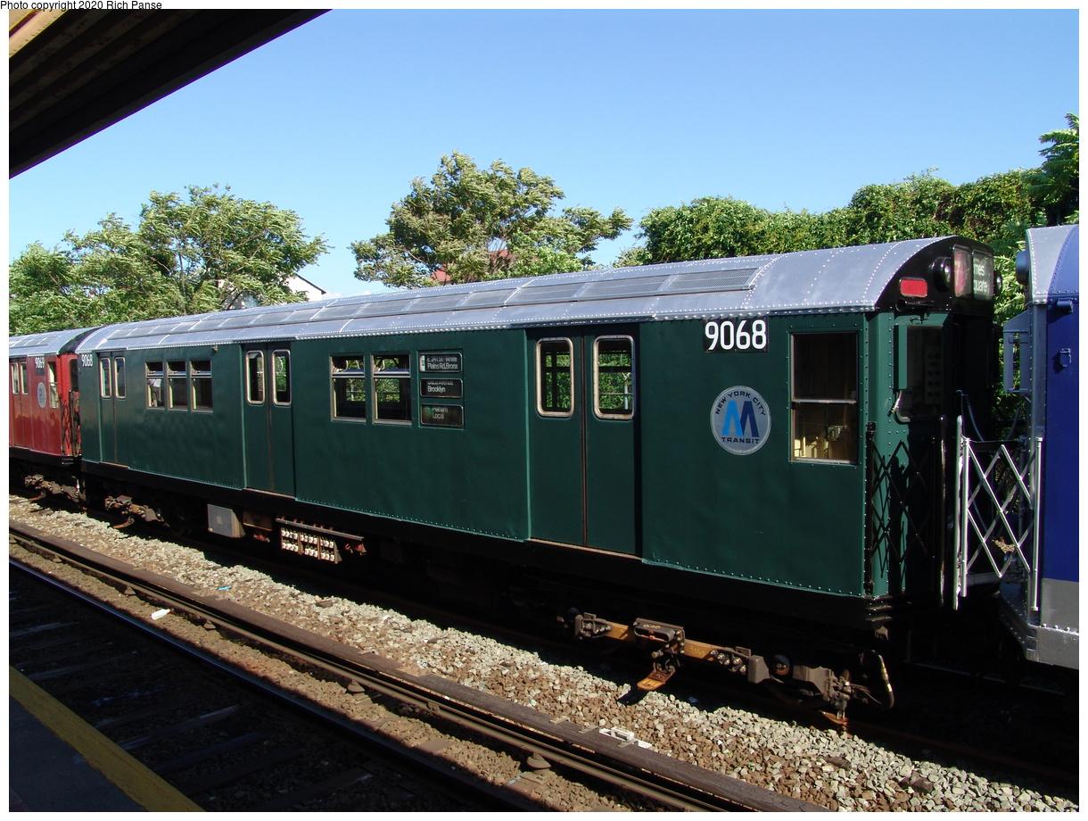 (477k, 1220x920)<br><b>Country:</b> United States<br><b>City:</b> New York<br><b>System:</b> New York City Transit<br><b>Line:</b> IND Rockaway Line<br><b>Location:</b> Rockaway Park/Beach 116th Street<br><b>Route:</b> Fan Trip<br><b>Car:</b> R-33 Main Line (St. Louis, 1962-63) 9068 <br><b>Photo by:</b> Richard Panse<br><b>Date:</b> 6/19/2004<br><b>Viewed (this week/total):</b> 1 / 4009