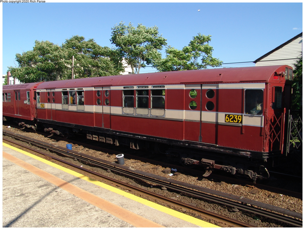 (531k, 1220x920)<br><b>Country:</b> United States<br><b>City:</b> New York<br><b>System:</b> New York City Transit<br><b>Line:</b> IND Rockaway Line<br><b>Location:</b> Rockaway Park/Beach 116th Street<br><b>Route:</b> Fan Trip<br><b>Car:</b> R-15 (American Car & Foundry, 1950) 6239 <br><b>Photo by:</b> Richard Panse<br><b>Date:</b> 6/19/2004<br><b>Viewed (this week/total):</b> 5 / 3497