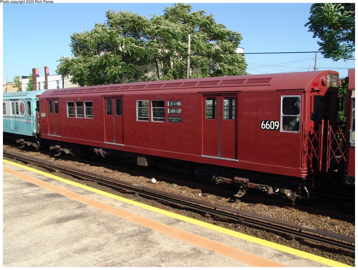 (570k, 1220x920)<br><b>Country:</b> United States<br><b>City:</b> New York<br><b>System:</b> New York City Transit<br><b>Line:</b> IND Rockaway Line<br><b>Location:</b> Rockaway Park/Beach 116th Street<br><b>Route:</b> Fan Trip<br><b>Car:</b> R-17 (St. Louis, 1955-56) 6609 <br><b>Photo by:</b> Richard Panse<br><b>Date:</b> 6/19/2004<br><b>Viewed (this week/total):</b> 2 / 3025