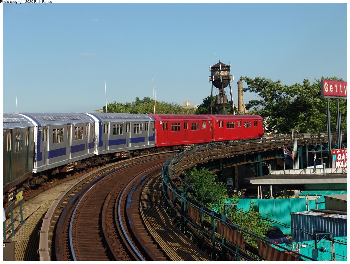 (509k, 1220x920)<br><b>Country:</b> United States<br><b>City:</b> New York<br><b>System:</b> New York City Transit<br><b>Line:</b> IND Fulton Street Line<br><b>Location:</b> Rockaway Boulevard<br><b>Route:</b> Fan Trip<br><b>Car:</b> R-33 Main Line (St. Louis, 1962-63) 9010-9011-9016-9017 <br><b>Photo by:</b> Richard Panse<br><b>Date:</b> 6/19/2004<br><b>Viewed (this week/total):</b> 1 / 4417