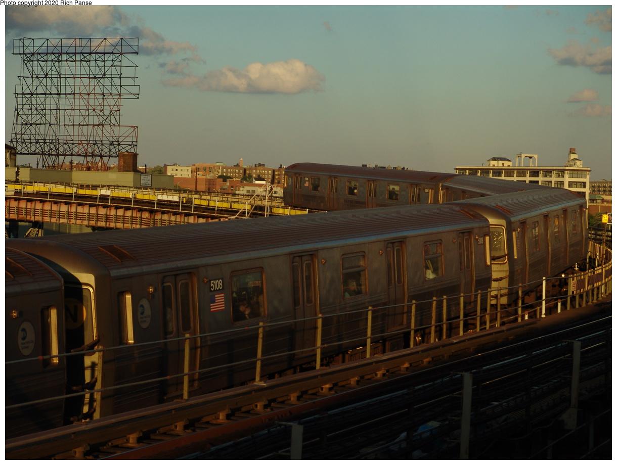 (365k, 1220x920)<br><b>Country:</b> United States<br><b>City:</b> New York<br><b>System:</b> New York City Transit<br><b>Line:</b> BMT Astoria Line<br><b>Location:</b> Queensborough Plaza<br><b>Route:</b> N<br><b>Car:</b> R-68A (Kawasaki, 1988-1989) 5108 <br><b>Photo by:</b> Richard Panse<br><b>Date:</b> 6/19/2004<br><b>Viewed (this week/total):</b> 4 / 4992