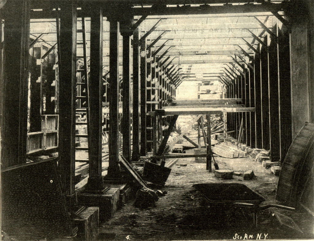 (267k, 1024x786)<br><b>Country:</b> United States<br><b>City:</b> New York<br><b>System:</b> New York City Transit<br><b>Photo by:</b> <i>Scientific American</i>-Jan. 1901<br><b>Notes:</b> Interior view, showing steel framing before concreting.<br><b>Viewed (this week/total):</b> 4 / 6235