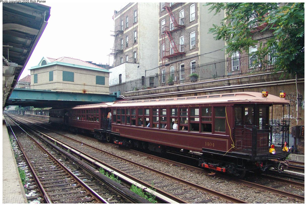 (734k, 1220x820)<br><b>Country:</b> United States<br><b>City:</b> New York<br><b>System:</b> New York City Transit<br><b>Line:</b> BMT Brighton Line<br><b>Location:</b> Cortelyou Road<br><b>Route:</b> Fan Trip<br><b>Car:</b> BMT Elevated Gate Car 1404-1273-1407 <br><b>Photo by:</b> Richard Panse<br><b>Date:</b> 7/18/2004<br><b>Viewed (this week/total):</b> 1 / 3673