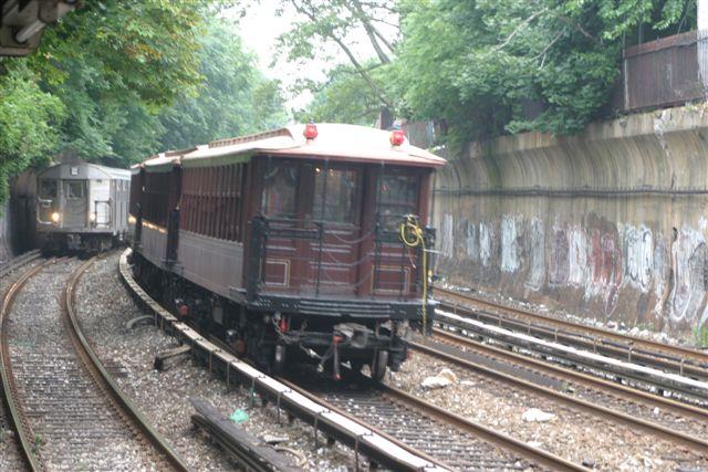 (67k, 640x427)<br><b>Country:</b> United States<br><b>City:</b> New York<br><b>System:</b> New York City Transit<br><b>Line:</b> BMT Brighton Line<br><b>Location:</b> Beverley Road<br><b>Route:</b> Fan Trip<br><b>Car:</b> BMT Elevated Gate Car 1404-1273-1407 <br><b>Photo by:</b> Steven Maier<br><b>Date:</b> 7/18/2004<br><b>Viewed (this week/total):</b> 0 / 4438