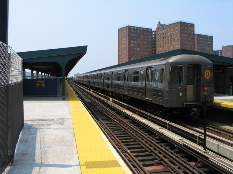 (126k, 800x600)<br><b>Country:</b> United States<br><b>City:</b> New York<br><b>System:</b> New York City Transit<br><b>Line:</b> BMT Brighton Line<br><b>Location:</b> West 8th Street<br><b>Route:</b> Q<br><b>Car:</b> R-68A (Kawasaki, 1988-1989) 5066 <br><b>Photo by:</b> Neil Feldman<br><b>Date:</b> 7/1/2004<br><b>Viewed (this week/total):</b> 1 / 3702