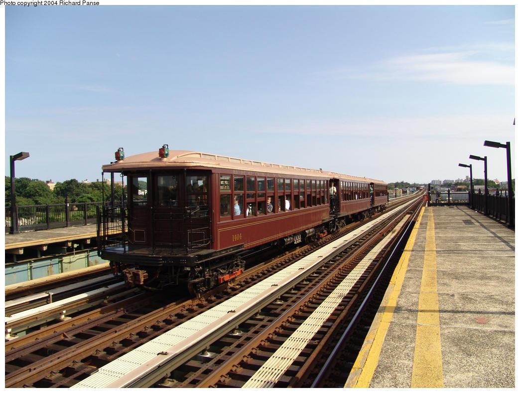(180k, 1044x788)<br><b>Country:</b> United States<br><b>City:</b> New York<br><b>System:</b> New York City Transit<br><b>Line:</b> BMT Culver Line<br><b>Location:</b> Bay Parkway (22nd Avenue)<br><b>Route:</b> Fan Trip<br><b>Car:</b> BMT Elevated Gate Car 1404-1273-1407 <br><b>Photo by:</b> Richard Panse<br><b>Date:</b> 7/25/2004<br><b>Viewed (this week/total):</b> 0 / 3076