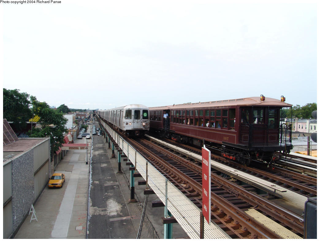 (147k, 1044x788)<br><b>Country:</b> United States<br><b>City:</b> New York<br><b>System:</b> New York City Transit<br><b>Line:</b> BMT Culver Line<br><b>Location:</b> Bay Parkway (22nd Avenue)<br><b>Route:</b> Fan Trip<br><b>Car:</b> BMT Elevated Gate Car 1404-1273-1407 <br><b>Photo by:</b> Richard Panse<br><b>Date:</b> 7/25/2004<br><b>Viewed (this week/total):</b> 4 / 3833