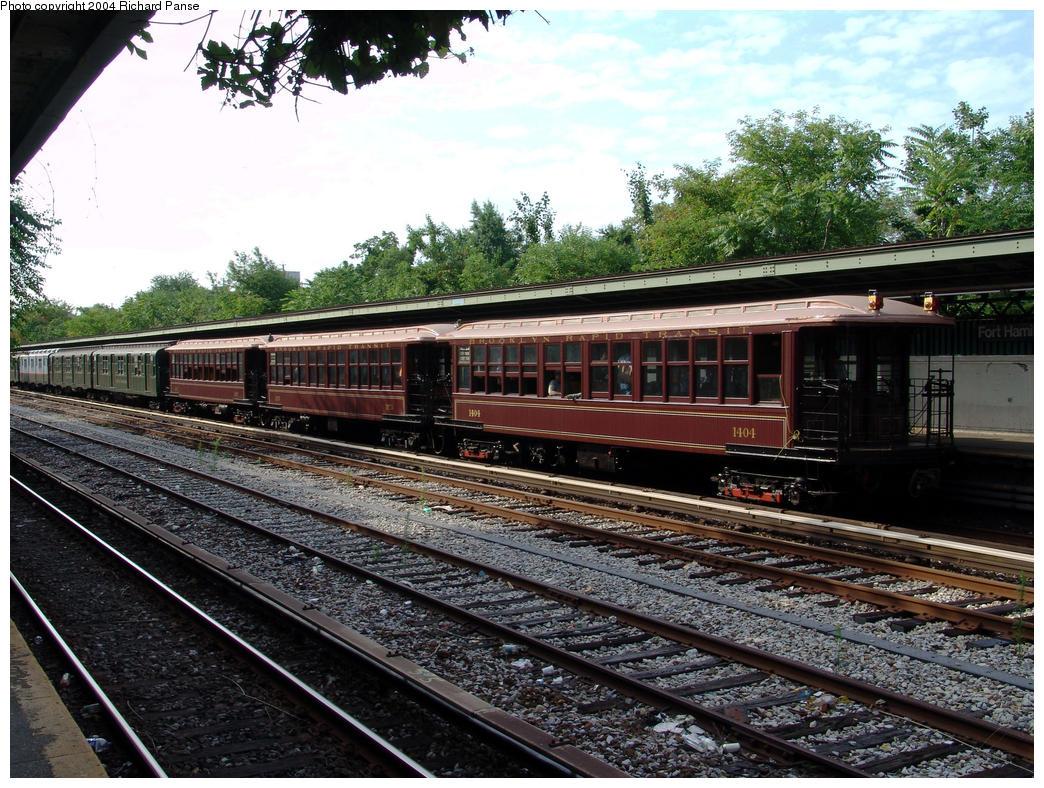 (227k, 1044x788)<br><b>Country:</b> United States<br><b>City:</b> New York<br><b>System:</b> New York City Transit<br><b>Line:</b> BMT Sea Beach Line<br><b>Location:</b> Fort Hamilton Parkway<br><b>Route:</b> Fan Trip<br><b>Car:</b> BMT Elevated Gate Car 1404-1273-1407 <br><b>Photo by:</b> Richard Panse<br><b>Date:</b> 7/25/2004<br><b>Viewed (this week/total):</b> 2 / 2954