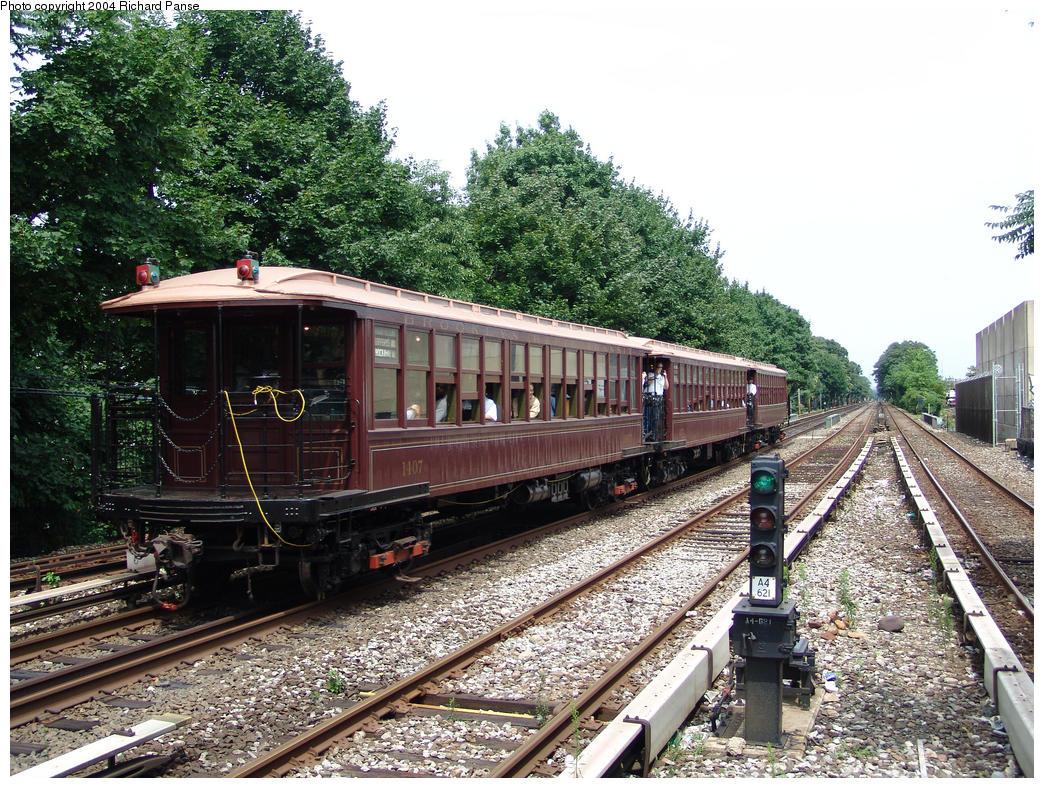 (261k, 1044x788)<br><b>Country:</b> United States<br><b>City:</b> New York<br><b>System:</b> New York City Transit<br><b>Line:</b> BMT Brighton Line<br><b>Location:</b> Kings Highway<br><b>Route:</b> Fan Trip<br><b>Car:</b> BMT Elevated Gate Car 1404-1273-1407 <br><b>Photo by:</b> Richard Panse<br><b>Date:</b> 7/25/2004<br><b>Viewed (this week/total):</b> 3 / 3152