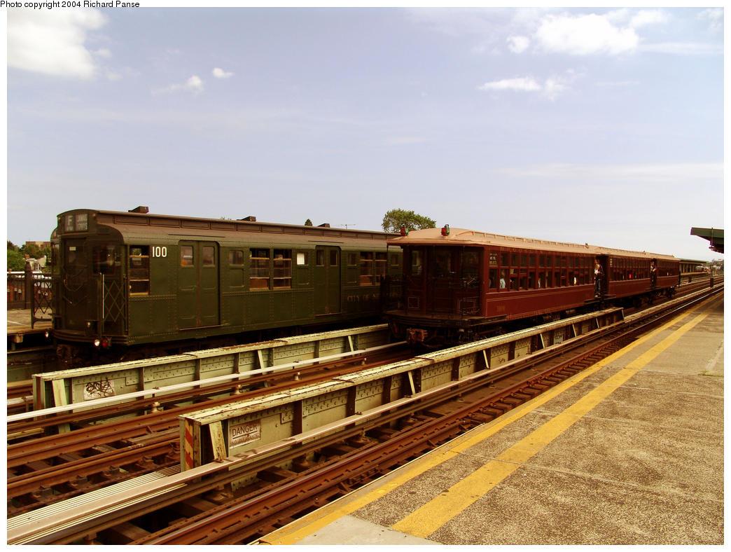 (177k, 1044x788)<br><b>Country:</b> United States<br><b>City:</b> New York<br><b>System:</b> New York City Transit<br><b>Line:</b> BMT Culver Line<br><b>Location:</b> Avenue I<br><b>Route:</b> Fan Trip<br><b>Car:</b> R-1 (American Car & Foundry, 1930-1931) 100 <br><b>Photo by:</b> Richard Panse<br><b>Date:</b> 7/25/2004<br><b>Viewed (this week/total):</b> 2 / 4064