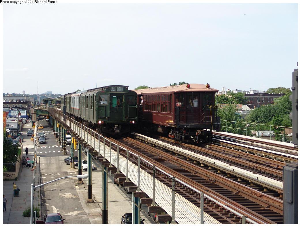 (184k, 1044x788)<br><b>Country:</b> United States<br><b>City:</b> New York<br><b>System:</b> New York City Transit<br><b>Line:</b> BMT Culver Line<br><b>Location:</b> Avenue I<br><b>Route:</b> Fan Trip<br><b>Car:</b>  484 & 1404-1273-1407 <br><b>Photo by:</b> Richard Panse<br><b>Date:</b> 7/25/2004<br><b>Viewed (this week/total):</b> 2 / 3192