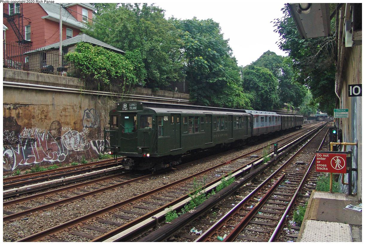 (769k, 1220x820)<br><b>Country:</b> United States<br><b>City:</b> New York<br><b>System:</b> New York City Transit<br><b>Line:</b> BMT Brighton Line<br><b>Location:</b> Cortelyou Road<br><b>Route:</b> Fan Trip<br><b>Car:</b> R-4 (American Car & Foundry, 1932-1933) 484 <br><b>Photo by:</b> Richard Panse<br><b>Date:</b> 7/18/2004<br><b>Viewed (this week/total):</b> 0 / 3406