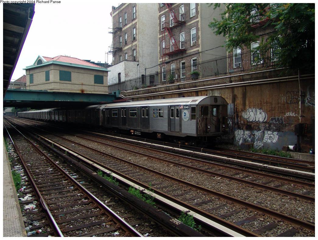 (234k, 1044x788)<br><b>Country:</b> United States<br><b>City:</b> New York<br><b>System:</b> New York City Transit<br><b>Line:</b> BMT Brighton Line<br><b>Location:</b> Cortelyou Road<br><b>Route:</b> Q<br><b>Car:</b> R-32 (Budd, 1964) 3549 <br><b>Photo by:</b> Richard Panse<br><b>Date:</b> 7/18/2004<br><b>Viewed (this week/total):</b> 0 / 4819
