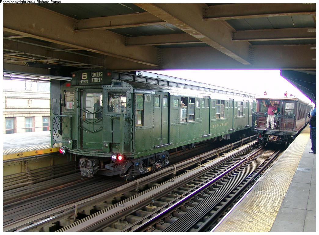 (200k, 1044x769)<br><b>Country:</b> United States<br><b>City:</b> New York<br><b>System:</b> New York City Transit<br><b>Line:</b> BMT Brighton Line<br><b>Location:</b> Brighton Beach<br><b>Route:</b> Fan Trip<br><b>Car:</b> R-1 (American Car & Foundry, 1930-1931) 100 <br><b>Photo by:</b> Richard Panse<br><b>Date:</b> 7/18/2004<br><b>Viewed (this week/total):</b> 2 / 4071