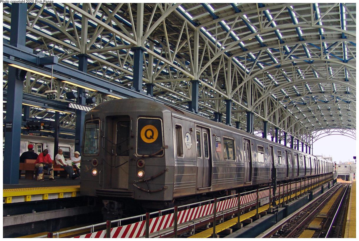 (668k, 1220x820)<br><b>Country:</b> United States<br><b>City:</b> New York<br><b>System:</b> New York City Transit<br><b>Location:</b> Coney Island/Stillwell Avenue<br><b>Route:</b> Q<br><b>Car:</b> R-68A (Kawasaki, 1988-1989) 5088 <br><b>Photo by:</b> Richard Panse<br><b>Date:</b> 7/18/2004<br><b>Viewed (this week/total):</b> 0 / 4477