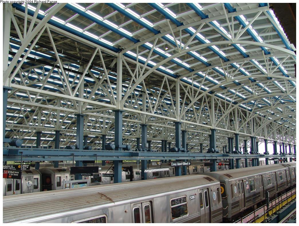 (275k, 1044x788)<br><b>Country:</b> United States<br><b>City:</b> New York<br><b>System:</b> New York City Transit<br><b>Location:</b> Coney Island/Stillwell Avenue<br><b>Route:</b> Q<br><b>Car:</b> R-68A (Kawasaki, 1988-1989) 5086 <br><b>Photo by:</b> Richard Panse<br><b>Date:</b> 7/18/2004<br><b>Viewed (this week/total):</b> 0 / 4690