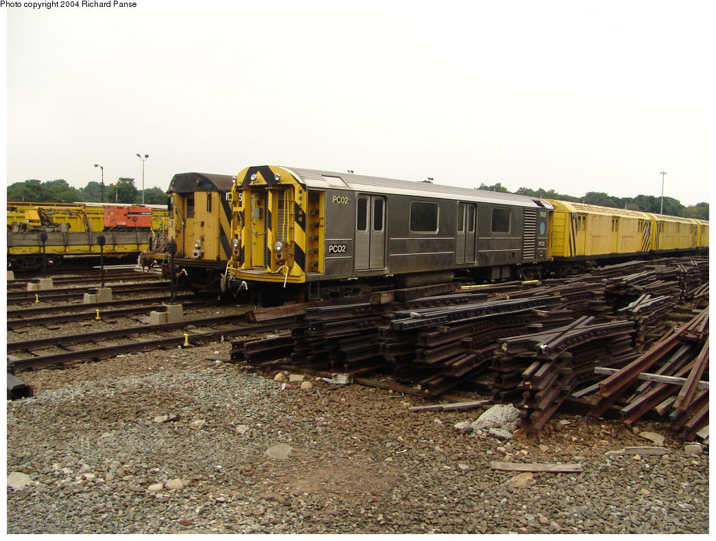 (199k, 1044x788)<br><b>Country:</b> United States<br><b>City:</b> New York<br><b>System:</b> New York City Transit<br><b>Location:</b> 36th Street Yard<br><b>Car:</b> R-65 Pump Car 02 <br><b>Photo by:</b> Richard Panse<br><b>Date:</b> 7/18/2004<br><b>Viewed (this week/total):</b> 2 / 6479