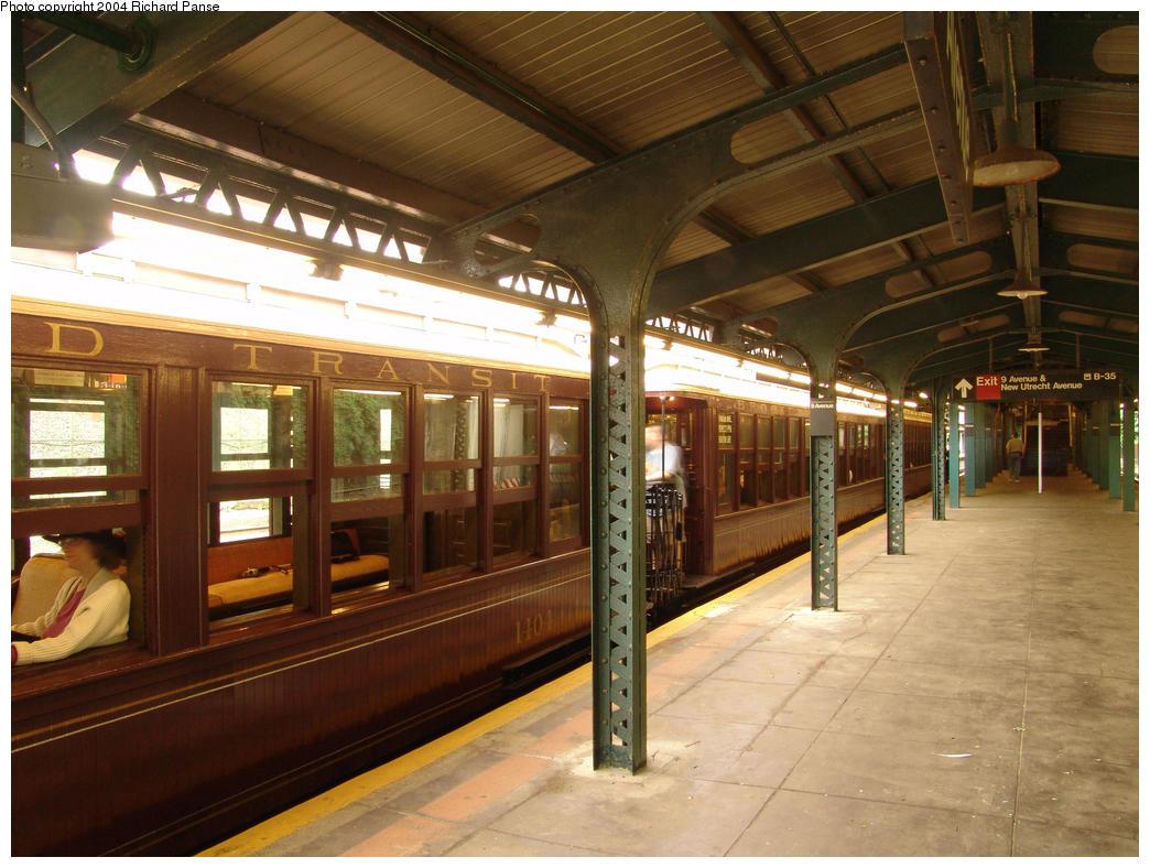 (172k, 1044x788)<br><b>Country:</b> United States<br><b>City:</b> New York<br><b>System:</b> New York City Transit<br><b>Line:</b> BMT West End Line<br><b>Location:</b> 9th Avenue<br><b>Route:</b> Fan Trip<br><b>Car:</b> BMT Elevated Gate Car 1404 <br><b>Photo by:</b> Richard Panse<br><b>Date:</b> 7/18/2004<br><b>Viewed (this week/total):</b> 2 / 3106