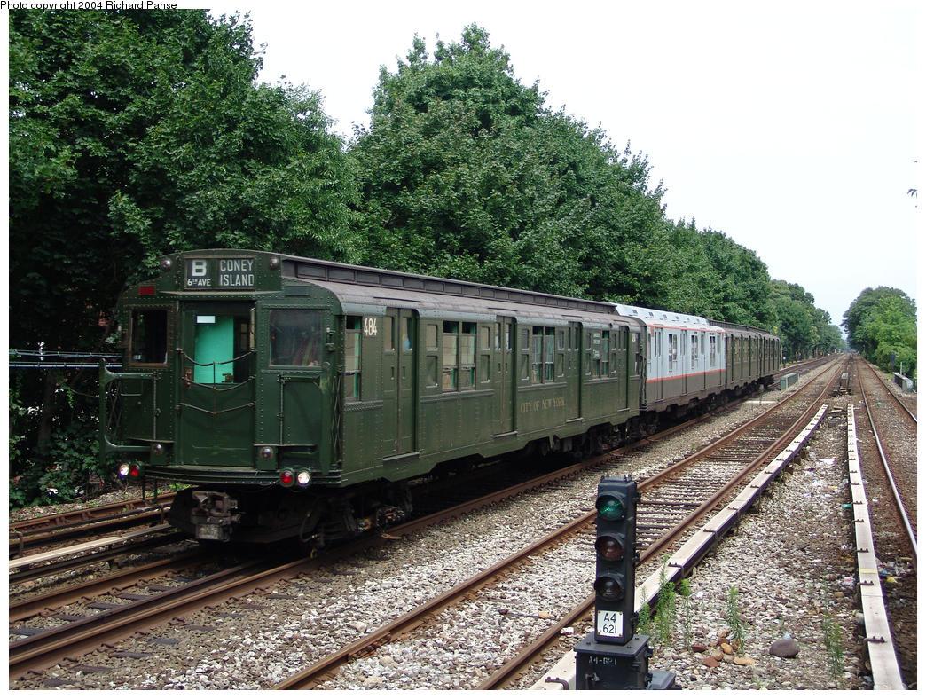 (253k, 1044x788)<br><b>Country:</b> United States<br><b>City:</b> New York<br><b>System:</b> New York City Transit<br><b>Line:</b> BMT Brighton Line<br><b>Location:</b> Kings Highway<br><b>Route:</b> Fan Trip<br><b>Car:</b> R-4 (American Car & Foundry, 1932-1933) 484 <br><b>Photo by:</b> Richard Panse<br><b>Date:</b> 7/25/2004<br><b>Viewed (this week/total):</b> 2 / 3366