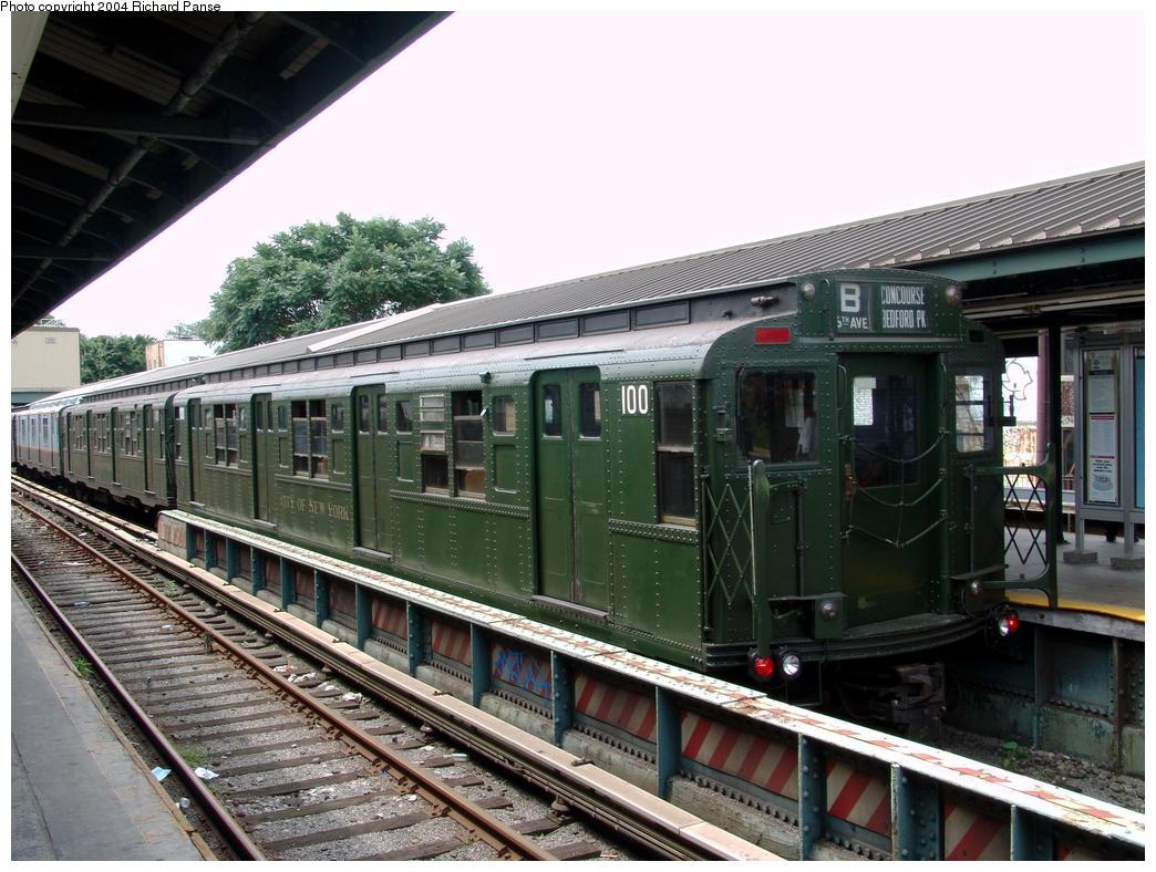 (184k, 1044x788)<br><b>Country:</b> United States<br><b>City:</b> New York<br><b>System:</b> New York City Transit<br><b>Line:</b> BMT Brighton Line<br><b>Location:</b> Kings Highway<br><b>Route:</b> Fan Trip<br><b>Car:</b> R-1 (American Car & Foundry, 1930-1931) 100 <br><b>Photo by:</b> Richard Panse<br><b>Date:</b> 7/25/2004<br><b>Viewed (this week/total):</b> 1 / 3470