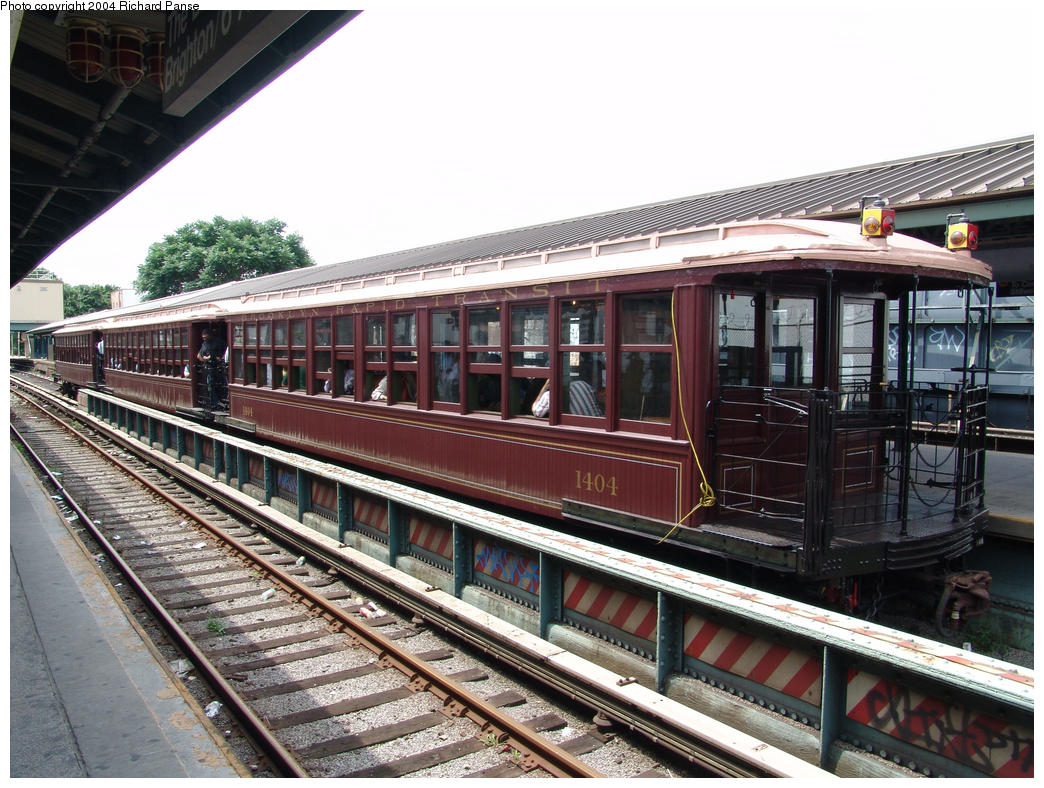 (202k, 1044x788)<br><b>Country:</b> United States<br><b>City:</b> New York<br><b>System:</b> New York City Transit<br><b>Line:</b> BMT Brighton Line<br><b>Location:</b> Kings Highway<br><b>Route:</b> Fan Trip<br><b>Car:</b> BMT Elevated Gate Car 1404 <br><b>Photo by:</b> Richard Panse<br><b>Date:</b> 7/25/2004<br><b>Viewed (this week/total):</b> 2 / 2735