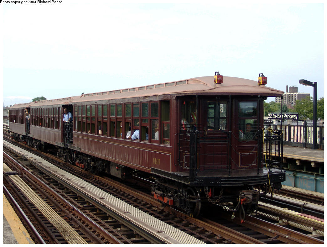 (165k, 1044x788)<br><b>Country:</b> United States<br><b>City:</b> New York<br><b>System:</b> New York City Transit<br><b>Line:</b> BMT Culver Line<br><b>Location:</b> Bay Parkway (22nd Avenue)<br><b>Route:</b> Fan Trip<br><b>Car:</b> BMT Elevated Gate Car 1407 <br><b>Photo by:</b> Richard Panse<br><b>Date:</b> 7/25/2004<br><b>Viewed (this week/total):</b> 4 / 2774
