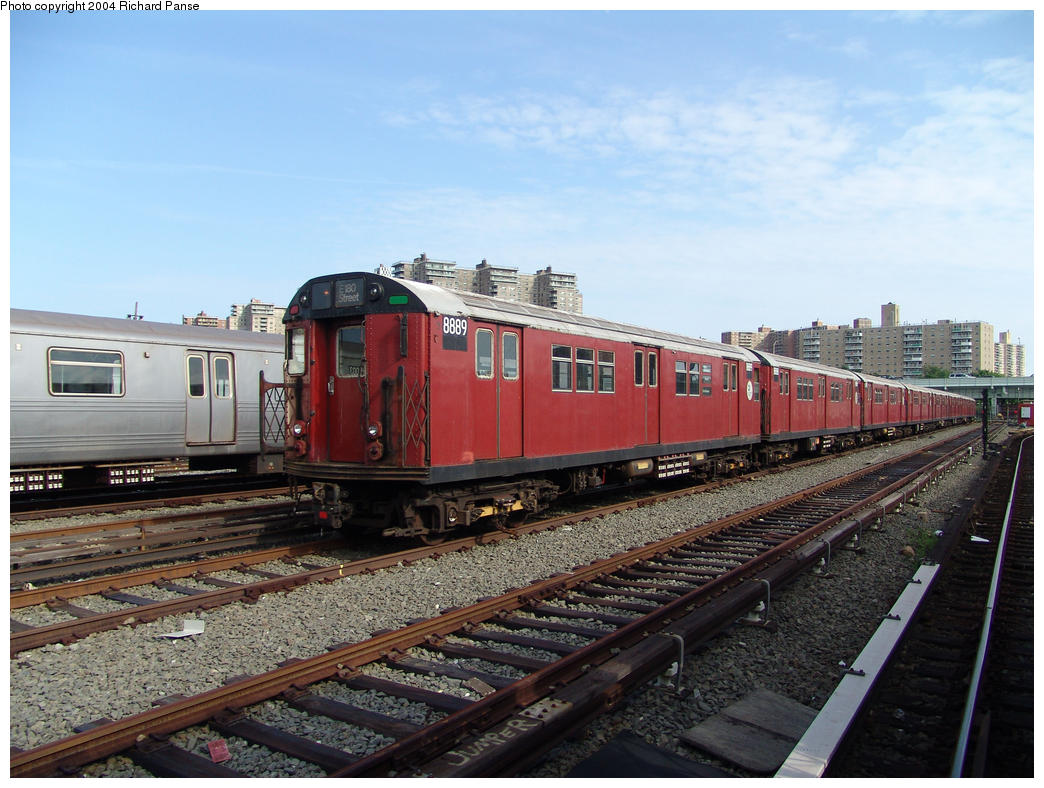 (169k, 1044x788)<br><b>Country:</b> United States<br><b>City:</b> New York<br><b>System:</b> New York City Transit<br><b>Location:</b> Coney Island Yard<br><b>Car:</b> R-33 Main Line (St. Louis, 1962-63) 8889 <br><b>Photo by:</b> Richard Panse<br><b>Date:</b> 7/25/2004<br><b>Viewed (this week/total):</b> 3 / 3992