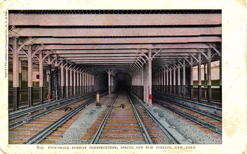 (174k, 831x519)<br><b>Country:</b> United States<br><b>City:</b> New York<br><b>System:</b> New York City Transit<br><b>Line:</b> IRT East Side Line<br><b>Location:</b> Spring Street<br><b>Collection of:</b> Ed Levine<br><b>Notes:</b> Postcard: Five track subway construction, Spring and Elm Streets, New York<br><b>Viewed (this week/total):</b> 0 / 3640