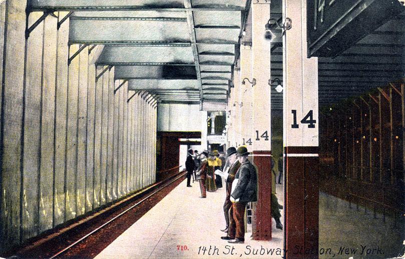 (181k, 809x518)<br><b>Country:</b> United States<br><b>City:</b> New York<br><b>System:</b> New York City Transit<br><b>Line:</b> IRT East Side Line<br><b>Location:</b> 14th Street/Union Square<br><b>Collection of:</b> Ed Levine<br><b>Notes:</b> Postcard: 14th St., Subway Station, New York<br><b>Viewed (this week/total):</b> 0 / 5436