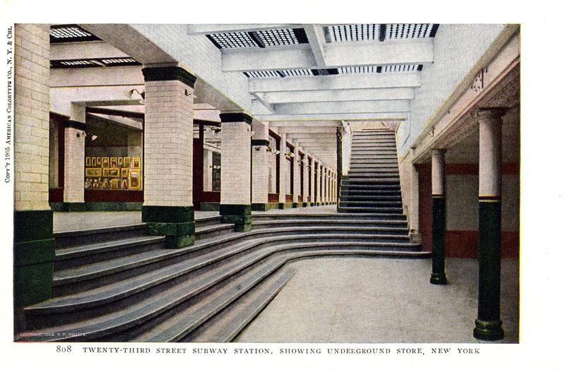 (153k, 804x524)<br><b>Country:</b> United States<br><b>City:</b> New York<br><b>System:</b> New York City Transit<br><b>Line:</b> IRT East Side Line<br><b>Location:</b> 23rd Street<br><b>Collection of:</b> Ed Levine<br><b>Notes:</b> Postcard: Twenty-third Street Station, Showing Underground Store, New York<br><b>Viewed (this week/total):</b> 3 / 4075