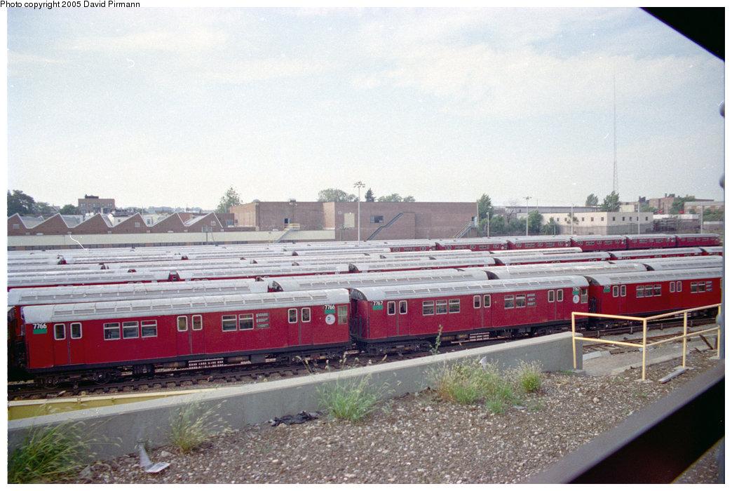 (195k, 1044x700)<br><b>Country:</b> United States<br><b>City:</b> New York<br><b>System:</b> New York City Transit<br><b>Location:</b> 239th Street Yard<br><b>Car:</b> R-26 (American Car & Foundry, 1959-60) 7766 <br><b>Photo by:</b> David Pirmann<br><b>Date:</b> 9/13/1998<br><b>Notes:</b> With 7767<br><b>Viewed (this week/total):</b> 6 / 6204