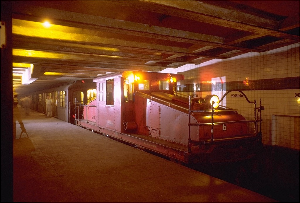 (180k, 1024x693)<br><b>Country:</b> United States<br><b>City:</b> New York<br><b>System:</b> New York City Transit<br><b>Line:</b> IND Fulton Street Line<br><b>Location:</b> Court Street (Future Transit Museum)<br><b>Route:</b> Fan Trip<br><b>Car:</b> SBK Steeplecab 6 <br><b>Photo by:</b> Joe Testagrose<br><b>Date:</b> 8/23/1969<br><b>Viewed (this week/total):</b> 8 / 18171