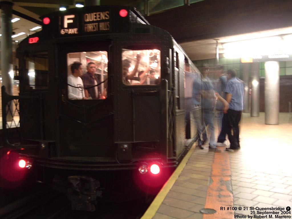 (103k, 1024x768)<br><b>Country:</b> United States<br><b>City:</b> New York<br><b>System:</b> New York City Transit<br><b>Line:</b> IND 63rd Street Line<br><b>Location:</b> 21st Street/Queensbridge<br><b>Route:</b> Fan Trip<br><b>Car:</b> R-1 (American Car & Foundry, 1930-1931) 100 <br><b>Photo by:</b> Robert Marrero<br><b>Date:</b> 9/25/2004<br><b>Notes:</b> Museum train in service on a shortened F line, 2nd Ave. to 71st Ave. or 179th St.<br><b>Viewed (this week/total):</b> 0 / 6435