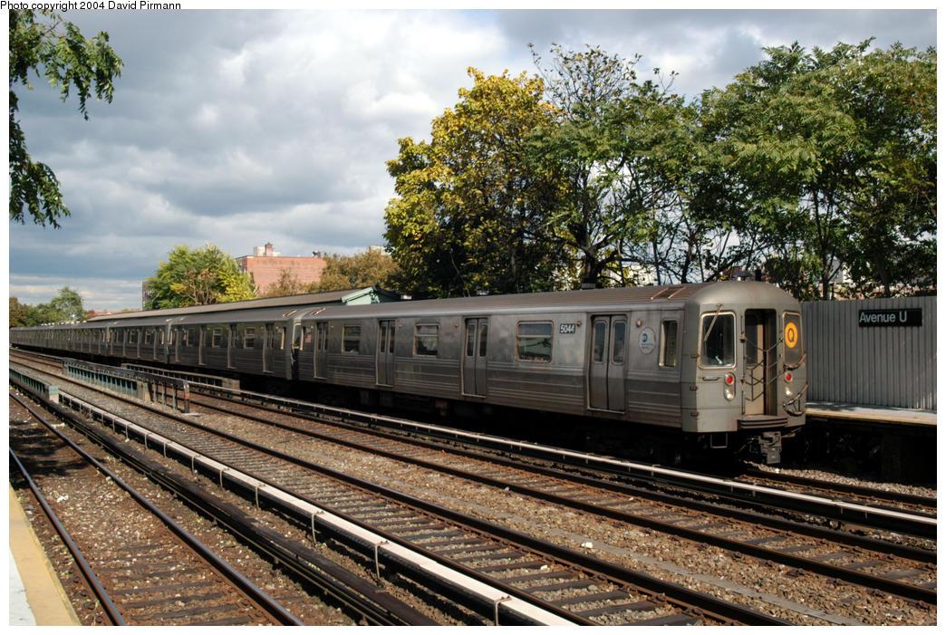 (235k, 1044x701)<br><b>Country:</b> United States<br><b>City:</b> New York<br><b>System:</b> New York City Transit<br><b>Line:</b> BMT Brighton Line<br><b>Location:</b> Avenue U<br><b>Route:</b> Q<br><b>Car:</b> R-68A (Kawasaki, 1988-1989) 5044 <br><b>Photo by:</b> David Pirmann<br><b>Date:</b> 10/23/2004<br><b>Viewed (this week/total):</b> 3 / 4135