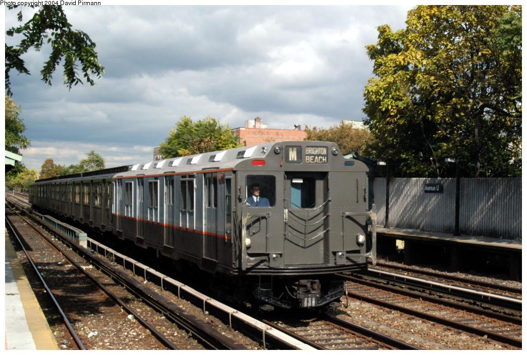 (200k, 1044x703)<br><b>Country:</b> United States<br><b>City:</b> New York<br><b>System:</b> New York City Transit<br><b>Line:</b> BMT Brighton Line<br><b>Location:</b> Avenue U<br><b>Route:</b> Fan Trip<br><b>Car:</b> R-7A (Pullman, 1938) 1575 <br><b>Photo by:</b> David Pirmann<br><b>Date:</b> 10/23/2004<br><b>Viewed (this week/total):</b> 0 / 5817