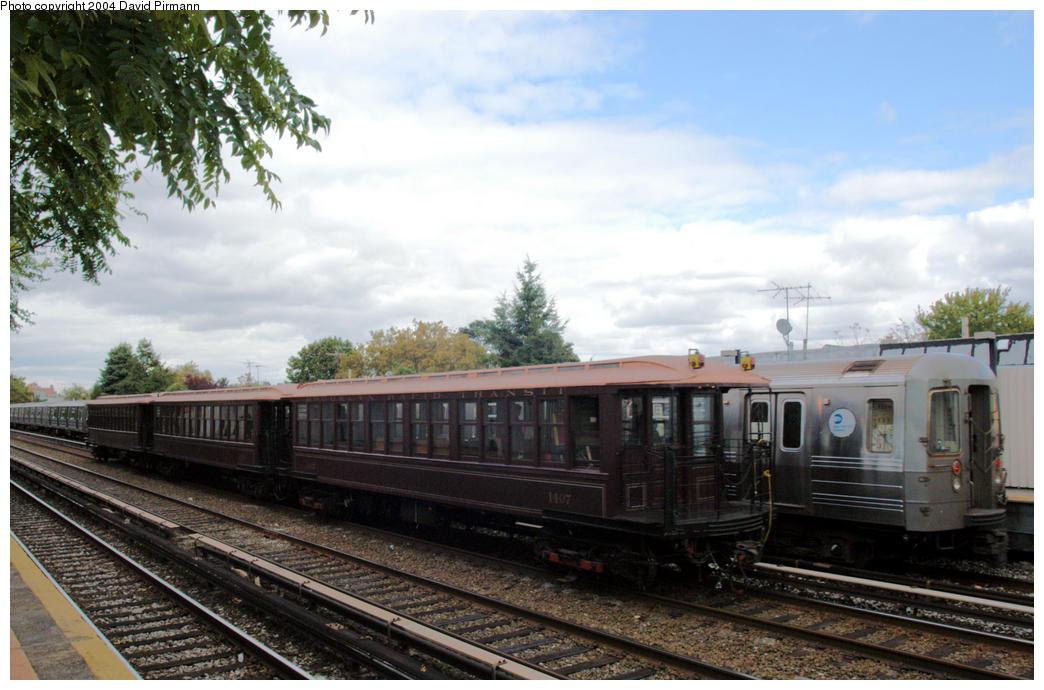 (177k, 1044x690)<br><b>Country:</b> United States<br><b>City:</b> New York<br><b>System:</b> New York City Transit<br><b>Line:</b> BMT Brighton Line<br><b>Location:</b> Neck Road<br><b>Route:</b> Fan Trip<br><b>Car:</b> BMT Elevated Gate Car 1407 <br><b>Photo by:</b> David Pirmann<br><b>Date:</b> 10/23/2004<br><b>Viewed (this week/total):</b> 1 / 3354