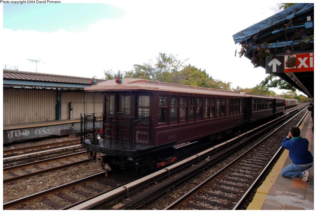 (192k, 1044x701)<br><b>Country:</b> United States<br><b>City:</b> New York<br><b>System:</b> New York City Transit<br><b>Line:</b> BMT Brighton Line<br><b>Location:</b> Neck Road<br><b>Route:</b> Fan Trip<br><b>Car:</b> BMT Elevated Gate Car 1404 <br><b>Photo by:</b> David Pirmann<br><b>Date:</b> 10/23/2004<br><b>Viewed (this week/total):</b> 2 / 3476